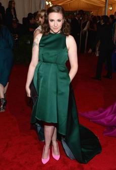 WHO: Lena Dunham. WHERE: Costume Institute Gala at the Metropolitan Museum of Art in NYC on May 7. WORE: Wes Gordon.